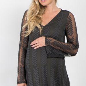 NWT Olive Maternity Dress Chevron Mesh pinkblush